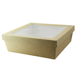 Kraft Kray Boxes With Pet Window Lid -132oz L:8.6 x W:8.6 x H:3.1in
