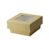 Kraft Kray Boxes With Pet Window Lid -7oz L:2.75 x W:2.75 x H:1.5in