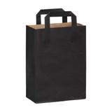 Black Mini Paper Bag With Handle - L:7.8 x W:3.9 x H:10.85in