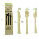 Anji bamboo cutlery kit 4/1: knife fork tablespoon, kraftwrap - 6.7in - 100sets