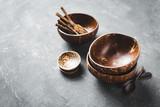 Round coconut bowl without polished - 3.4-5oz