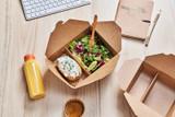 2-compartment kraft cardboard meal box - 35oz L:8.43 x W:6.1 x H:1.85in
