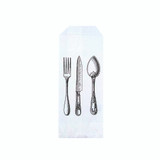 White Paper Bag Cutlery With Logo - L:7.45in x W:3.37in