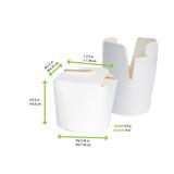 Mini White Pasta Box -8oz Dia:2.95in L:2.9 x W:2.5in H:2.6in