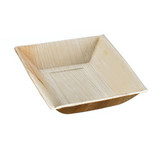Palm Leaf Plate With Square Corners And Slanted Edges - L:6.95 x W:5 x H:1.1in