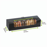 Black Box With Pet Window For 7 Macarons - L:8.5 x W:2.7 x H:1.8in