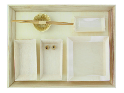 Wooden Tray VIP Lunchbox With Samurai Dishes - 100 Sets