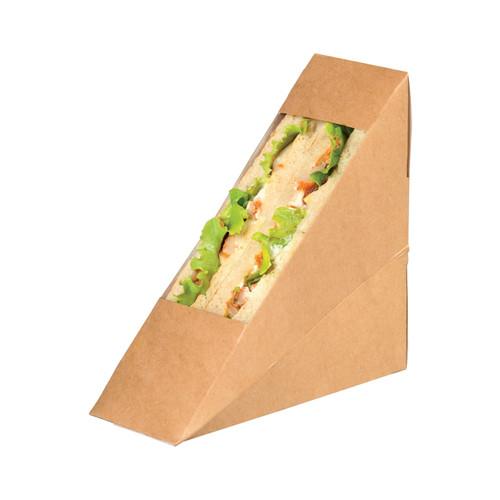 Kraft Double Sandwich Box With Pet Window - L:4.84 x W:2.05 x H:4.84in