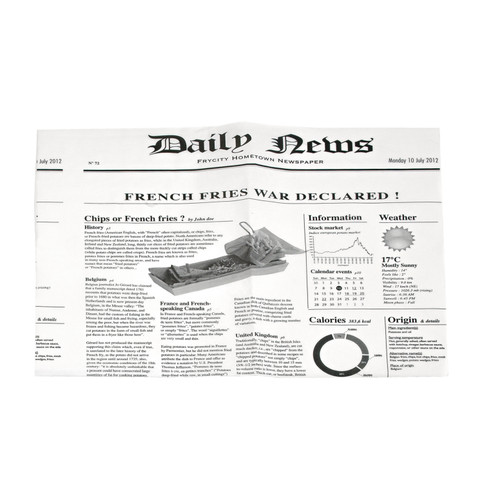 White Bag Opens 2 Sides With Newspaper Design - L:13.6 x W:10.6in