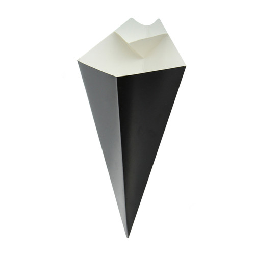Black Paper Cones With Built In Dipping Sauce Compartment -5oz L:7.68 in