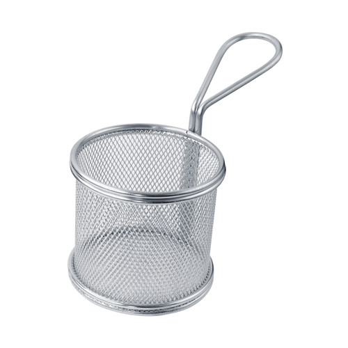 Small Round Stainless Steel Fryer Basket -9oz Dia:3.15in H:2.95in
