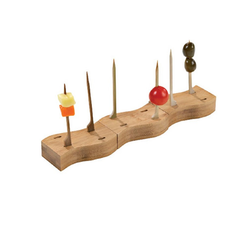 Haya 4 Holes Thick Bamboo Paddle Picks Holder & 20 Bamboo Paddle Picks - L:3.1 x W:1.5 x H:.75in