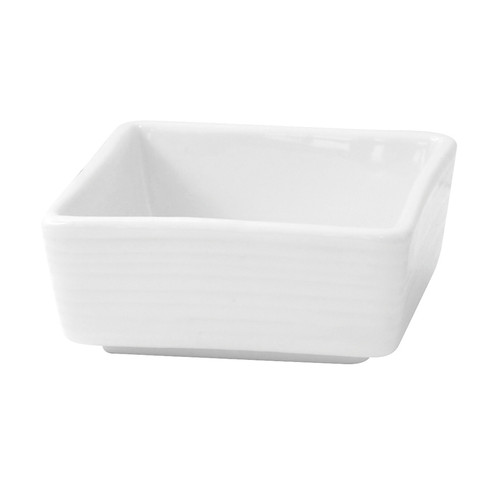 Mini White Square Porcelain Sauce Dish -2oz L:2.77 x W:2.72 x H:1.2in