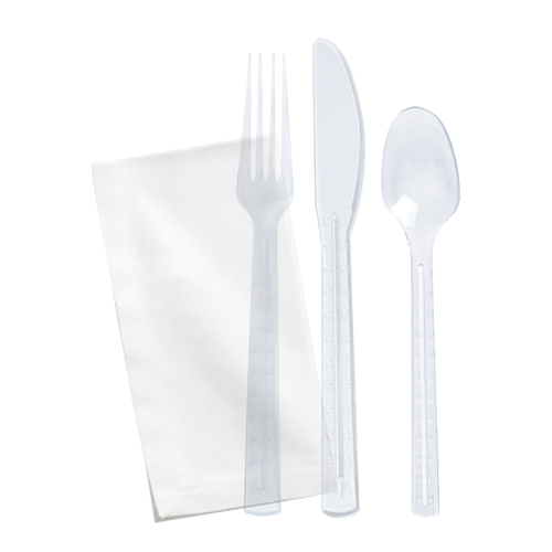 Clear First Class Kit 6 In 1 (Knife, Fork, Spoon, Napkin And Salt & Pepper) - L:7.87 x W:1.96in