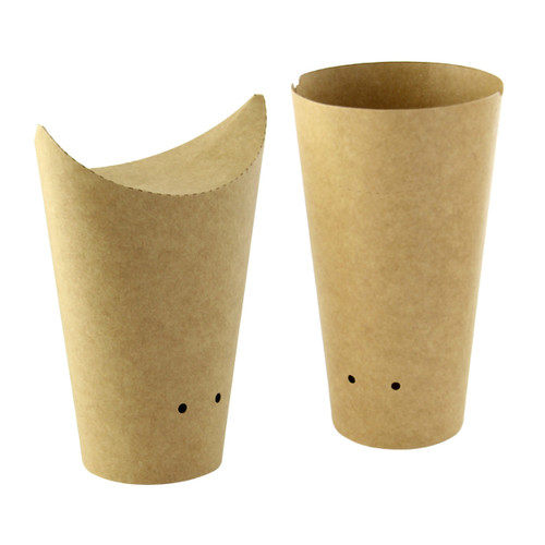 Closable Perforated Kraft Snack Cup -12oz Dia:3.35in H:5.4in