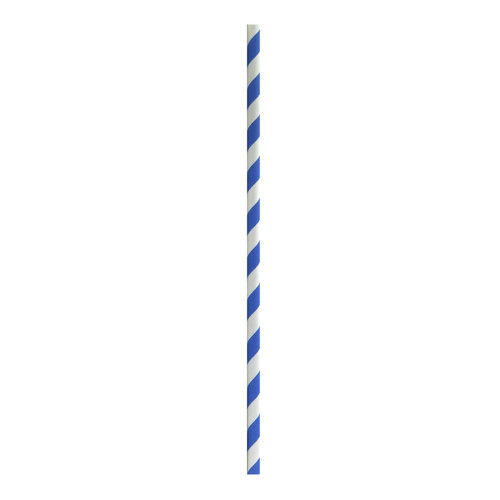 Durable Blue & White Striped Cocktail Paper Straws Unwrapped - Dia:.23in L:5.7in