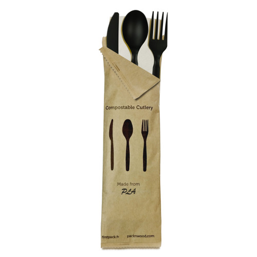 Compostable Black 4 In 1 Cutlery Kit With Kraft Bag (Knife, Fork, Spoon, Napkin) - L:8.95 x W:2.6in