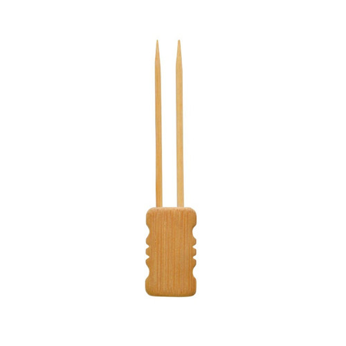 Mbola Double Prong Bamboo Skewer With Block End - L:4in