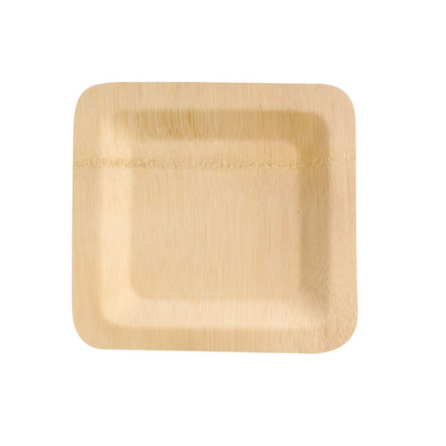 Bamboo Veneer Square Plate - L:7 x W:7 x H:.4in
