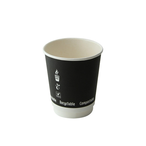 Double Wall Black Compostable Paper Cup -8oz Dia:3.1in H:3.55in