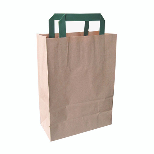 Kraft/Brown Recycled Paper Carrier Bag With Green Handles - L:8 x W:4 x H:11.1in