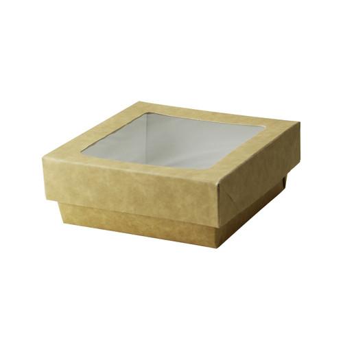 Kraft Kray Boxes With Pet Window Lid -12oz L:4 x W:3.95 x H:1.55in