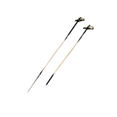 """""""Tingi"""" Black Bamboo Looped Skewer With Twisted Stem - L:5.75in"""