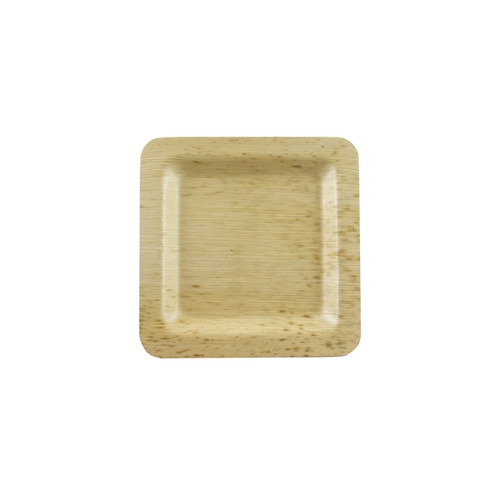 Square Bamboo Leaf Double Layer Plate - L:3.55 x W:3.55 x H:.45in