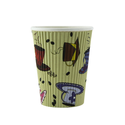 Rippled Teacup Design Cup -12oz Dia:3.5in H:4.25in