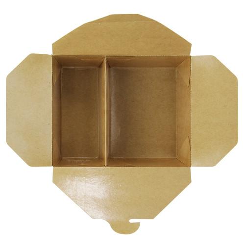 2-compartment kraft cardboard meal box 33oz - L:6.61in x W:5.35in x H:2.56in