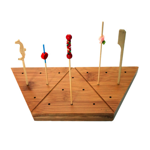 Triangular Bamboo Pick Holder For 18 Picks - L:9 x W:3.9 x H:0.75 in