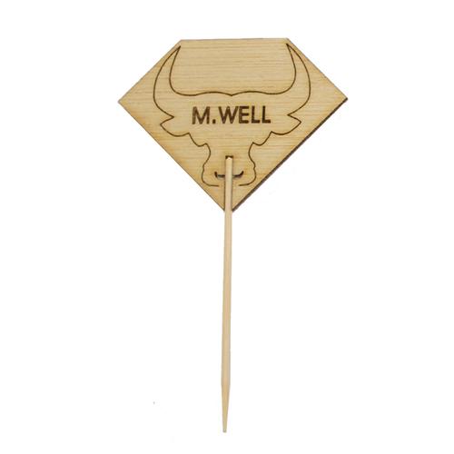 Diamond Shaped Steak Markers With Bull Head Medium Well - L:3.62in
