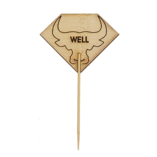 Diamond Shaped Steak Markers With Bull Head Well - L:3.62in