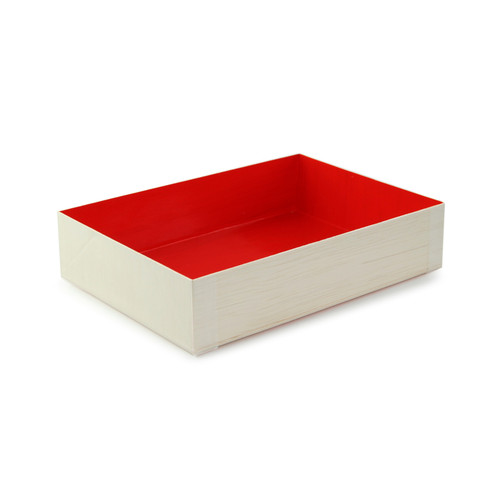 Wooden Folding Box With Red Shiny Interior - L:6.6 x W:4.75 x H:1.45in