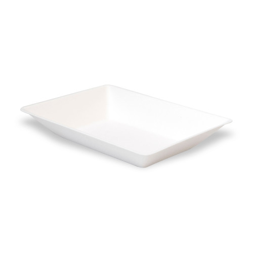 Eco-Design White Sugarcane Plate -5oz Top:L:5.08 x W:3.25 x H:1.15in
