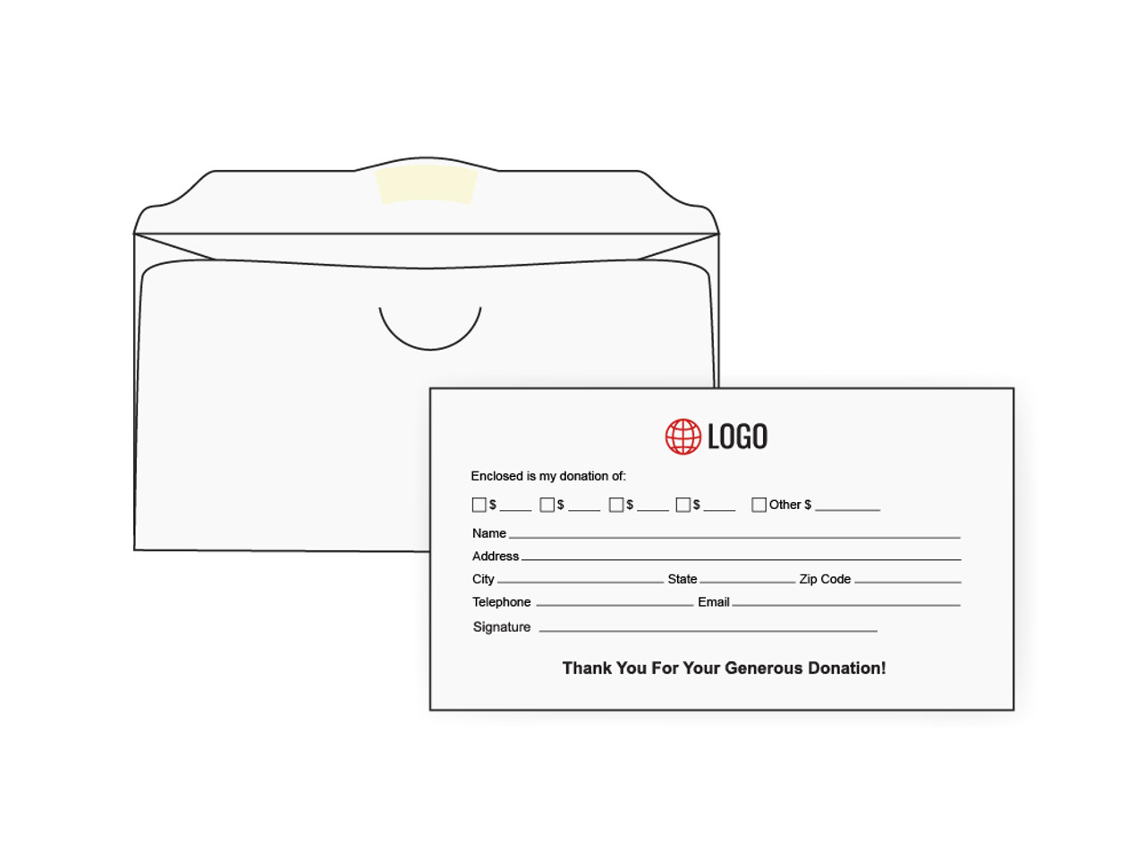 Custom White Offering Envelopes - EN1019