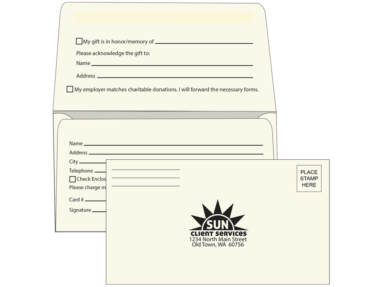 cream fundraising envelopes