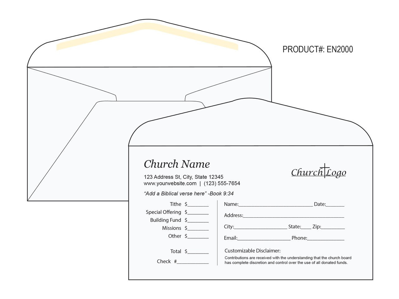 Custom Tithe Envelopes - Easy to Use - EN2000
