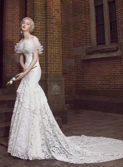 a2369348af81 White Lace Mermaid Off The Shoulder Wedding Dress With Train ...