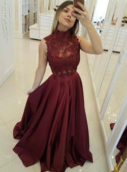 b47490a6b72 Burgundy High Neck Lace Bodice Princess Floor Length Long Prom Dress ...