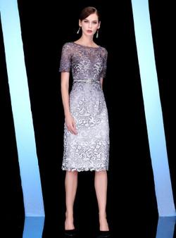 9d4c56a1ba1 Shop 2019 Long   Short Gray Lace Sheath Short Sleeve Knee Length Mother Of  The Bride ...