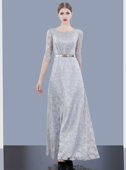 a48ef610a0 Shop 2019 Long   Short A-Line SIlver Gray Sequins Half Sleeve Mother Of The  ...