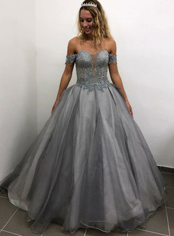 c6996f33df2 Sexy Gray Ball Gown Tulle Off the Shoulder Beading Long Prom Dress ...
