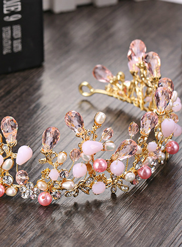 Pretty Pink Crystal Bridal Crowns Tiaras Girls Pearl Beads Wedding Hair