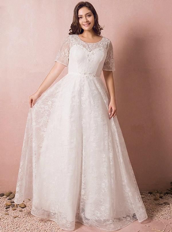 Plus Size A-Line Short Sleeve White Lace Appliques Floor Length Wedding Dress
