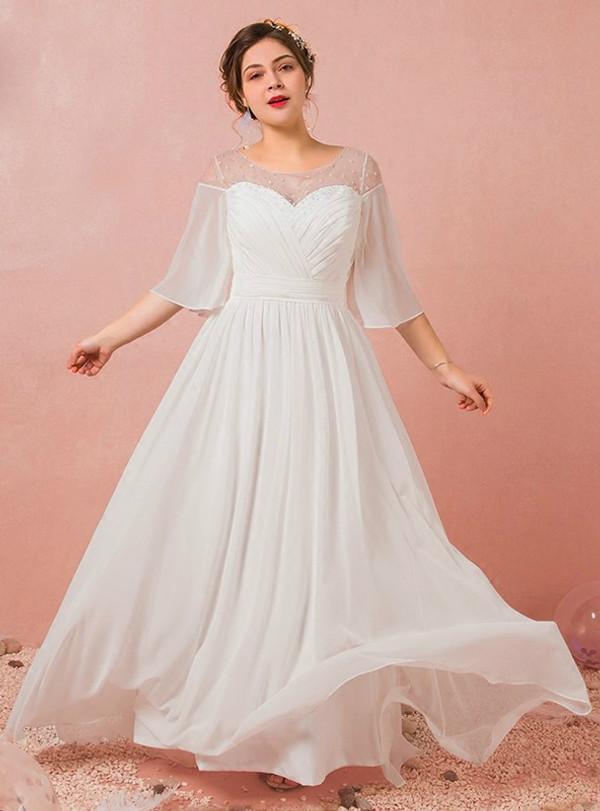Plus Size A-Line White Chiffon Short Sleeve Backless Wedding Dress