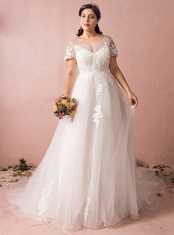 Plus Size A-Line White Short Sleeve Backless Tulle Appliques Wedding Dress With Train