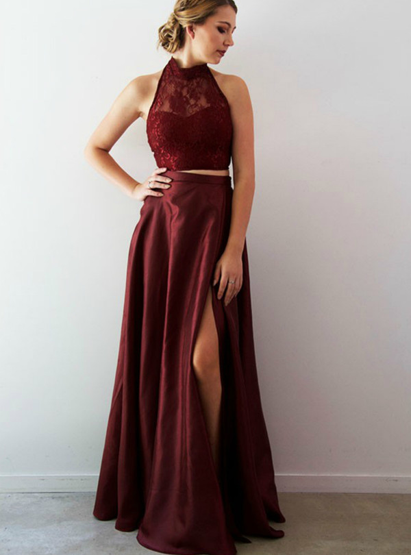8dd1a9daf62 A-Line Burgundy Two Piece Lace Halter Prom Dress With Split Side