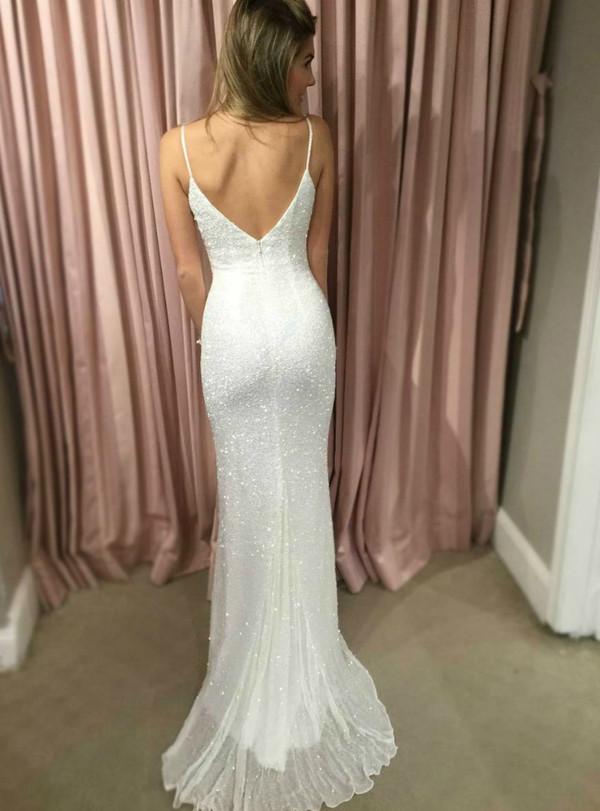 3ec1c2f8421 Fairy Tale White Sheath Spahgetti Straps Sequin Backless Prom Dress