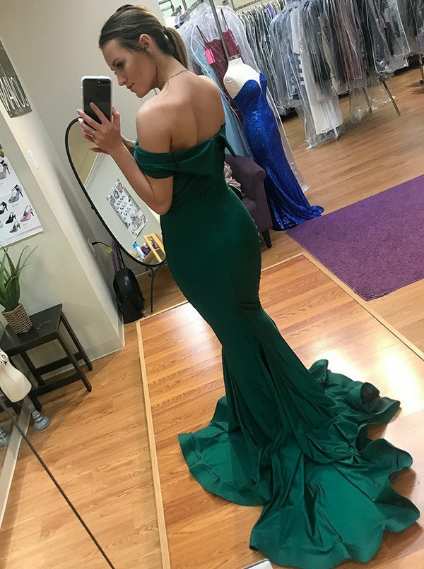 6f52090312 Simple Green Mermaid Satin Off The Shoulder Prom Dress